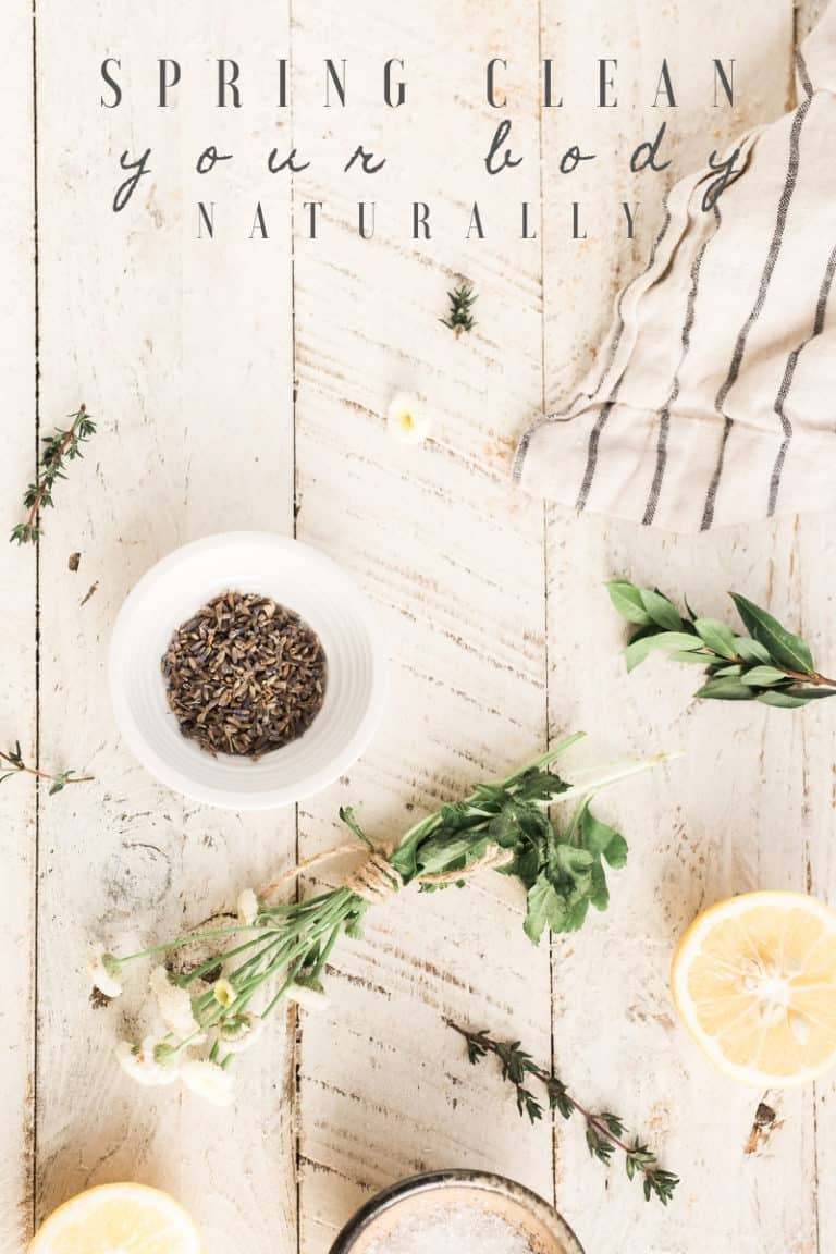 45 easy ways to Spring Clean your body naturally by focusing specifically on healthy habits & detoxing of the gut, skin, lungs, liver, colon, & more!